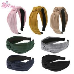 Wholesale tiara bands wholesale - XIMA 7PCS Korean Style Fashion Women Knot Hairband Girls Tiara Hair Hoop Band Solid Headband Hair Accessories WHB017