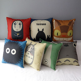 Wholesale Totoro Cushion Cover - Totoro pillow cover, Totoro series Hayao Miyazaki chinchilla cotton linen throw pillow cushion cover pillowcase home decor