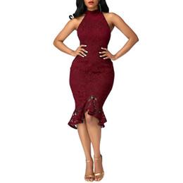 Mujer Negro / Vino / Azul marino Vestido ajustado a media pierna Vestido atractivo del club Halter Cuello sin mangas Vestidos de sirena DK0546BK desde fabricantes