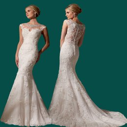 Wholesale Exotic Mermaid Dress - Sexy Lace Mermaid Wedding Dresses 2016 High Quality Beaded Sheer Vintage Bateau Neck Lace Back Plus Size Court Train Exotic Bridal Gowns