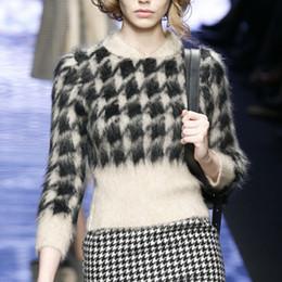 Vente en gros- 2017 hiver / automne vrai pull en cachemire designer vintage marque MAX femmes top en laine tricotée style pied de poule ? partir de fabricateur