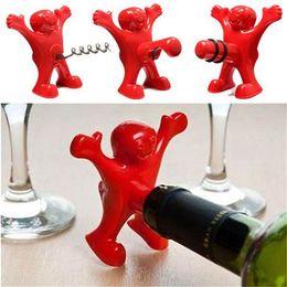 Wholesale Novelty Bottles - New Kitchen Bar Red Fun Happy Man Wine Beer Soda Bottle Openers Multifunction Wine Openers Bottle Novelty Opener Stopper
