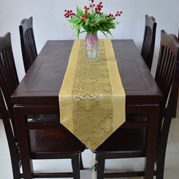 Wholesale Unique Chinese - Unique Chinese Knot Table Runner Cover Cloth Luxury Silk Brocade Wedding Decoration Table Cloth Dining Table Pads High Grade Bed Runners