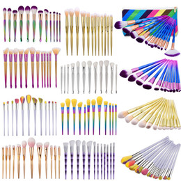 Wholesale Rainbow Eyes - 12pcs Mermaid Makeup Brush Set Professional Eye shadow Powder Foundation Brush Cosmetic Beauty Tool Diamond Rainbow Make up Brushes Kits