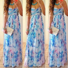 Wholesale Chiffon Children S Dresses - dongguan_wholesale Fashion Sexy Party Women Long Dresses Strapless Maxi Beach Dress Solid Chiffon High Waist Slim Dress XL XXL 2016