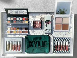 Wholesale Christmas Color Palettes - 2017 new makeup Kylie Cosmetics Holiday Collection with two eyeshadow palettes, lipsticks, lip gloss etc inside free shipping