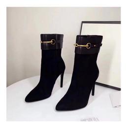 Роскошные новые женские ботильоны на высоком каблуке 10 см рыцарь мода 100% овчина замша кожаные туфли размер 35-40 cheap sheepskin boots shoes от Поставщики обувь из овчины
