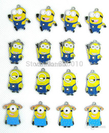 Wholesale Despicable Charms - Wholesale-Wholesale 100pcs mixed Despicable Me Minion Metal Alloy Enamel Charms Pendants for Jewelery W11