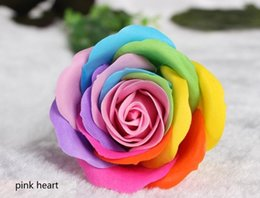Wholesale Colorful Flower Wedding - Rainbow 7 colorful Rose Soaps Flower Packed Wedding Supplies Gifts Event Party Goods Favor Toilet soap Scented bathroom accessories SR004
