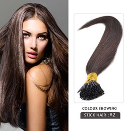 Wholesale Stick Virgin Hair - Top Quality #2 Pre-Bonded Stick Tip Hair I Tip Hair Extensions 0.5g strand Indian Remy Human Hair Extentions I Tip Straight Hair
