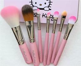 Wholesale Hello Set - Hello Kitty Make Up Cosmetic Brush Kit Makeup Brushes Pink Iron Case Toiletry Beauty Appliances 7pcs set