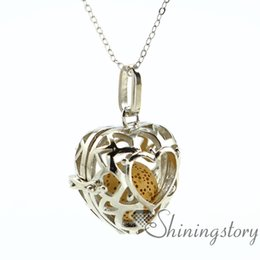 Wholesale Aroma Pendant Necklace Wholesale - heart openwork essential oil diffuser necklace diffuser pendants wholesale make your own oil diffuser aroma necklace lava volcanic stone met