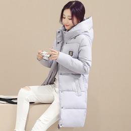 Wholesale Ladies Down Coat Medium - Gray Medium Long Winter Jackets Women Cotton-padded Winter Coat Outwear Female Parkas Ladies 2017 New Free Shipping