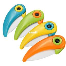 Wholesale Ceramic Knives Sets - New Arrive Bird Rio Adventure Shape Folding Ceramic Knife Fruit Vegetable Cutting Paring Mini Knives
