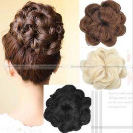 Wholesale Hair Extension Bun Pieces - Wholesale- Shanghai magic box 1pc Large Curly Drawstring Clip In On Messy Hair Bun Piece Updo Hair Extensions 15114336