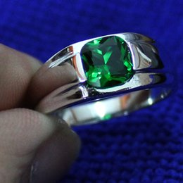 Wholesale Solitaire Emerald Rings - Size 9-12 Men's 925 Silver Filled Square Green Emerald Gemstone Ring