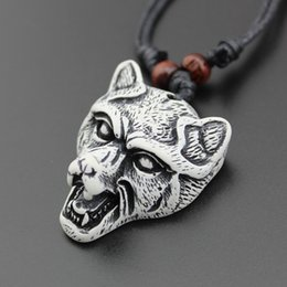 Wholesale Bones Pendant Necklace - 2017 New Arrival Wolf head pendant bead adjustable and imitation bone necklace jewelry wholesale