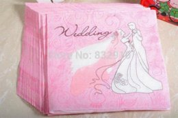 "Wholesale Handkerchief Wedding Favors - 330MMX330MM colored facial tissue paper napkin paper printing handkerchiefs for wedding birthday favors gift pink with""wedding """