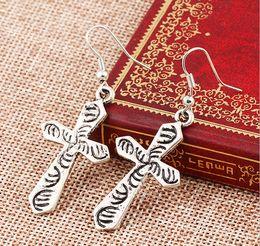 Wholesale Retro Cross Earrings - Vintage Retro Cross Love Heart Tree Hamsa Hand Charm Drop Earring Dangling Women Hoop Earrings