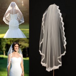 Wholesale Scallop Applique - Alencon Lace Veils fingertip With Comb veil re-embroidered one layer bridal veil ivory lace scallop birdcage veil wedding bridal accessories