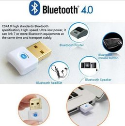 Wholesale Wireless Wi Fi Adapter - Mini USB Bluetooth V4.0 Dual Mode Wireless Dongle Gold plated connector CSR 4.0 Adapter Audio Transmitter For Win7 8 XP 25