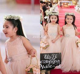 Discount wedding dress crystal sash blush - 2015 Cute Blush Pink Flower Girl Dresses for Weddings Long Tulle Crystals Sash Jewel Floor Length Girls Pageant Dress Kids Birthday Dresses