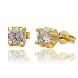 Wholesale Cz Wholesale Fashion Jewelry - Wedding jewelry for brides Top quality 18K gold plated CZ diamond stud earrings fashion design free shipping