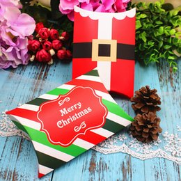 Wholesale Packing Boxes Supplies - Christmas Pillow Cookies Sugar Sweet Box Santa Claus Candy Treat Favor Boxes Xmas Souvenirs Gift Packing Box wen4790