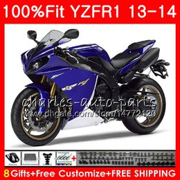 Wholesale Body Kit Yamaha R1 Purple - Injection blue black Body For YAMAHA YZF 1000 YZF-R1 13 14 YZFR1 2013 2014 86NO42 YZF R 1 YZF-1000 YZF1000 YZF R1 13 14 Fairing kit 100%Fit
