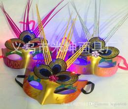 Wholesale Led Light Eye Mask - Venetian masks emitting princess mask LED light rain fox eye mask dance party mask mask JIA368