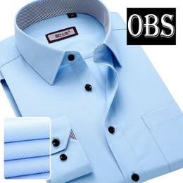 Wholesale Men S Wedding Clothes - Wholesale-OBS new arrival cotton men shirt blue white dress clothes formal male vestidos casual mens jeans chinese wedding party dresses