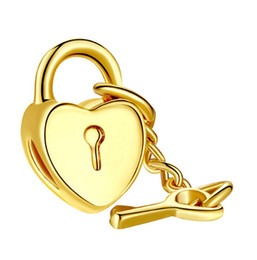 Wholesale Key Chain Bead Fit - Fashion 14k Gold Plated Heart Charm Beads With Key Pendant Fit Snake Chain Bracelets Big Hole DIY Fine Jewelry Valentine Gift K746