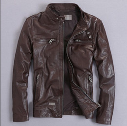 Wholesale Motorcycle Leather Coats - Fall-Factory Men's clothing Genuine Leather Jacket For Men Real Matte Sheep skin Fashion Motorcycle Biker Male Coat free shipping