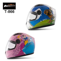 Wholesale Child Motorcycle Helmet - Tuan T866 Motorcycle Helmet Electric Bicycle Child Full Face Capacete Kids Sports Cartoon Helmets Windproof, free shipping