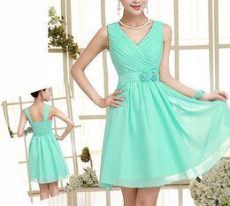 Wholesale New Tea Length - v neck Dress New Short Bridesmaid Dress New Womens Elegant V Neck and Waist Party Dress Hot Womens Pure Color and Slim Skirt