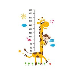 Wholesale Growth Chart Monkey - 2015 Hot! New S5Q Giraffe Monkey Removable Vinyl Wall Decal Stickers Kids Height Chart Measure Foot tall wall stickers children's room