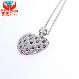 Wholesale Heart Shape Lighting Necklaces - 925 Sterling Silver Pendant noble jewelry bright light Princess heart heart-shaped pendant necklace high-end