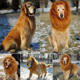 Wholesale Lion Wigs Dogs - Pet Costume Pet Dog Lion Wigs Mane Hair Festival Party Fancy Dress Halloween Costume pet lion hair,pet hair accessories E5M1