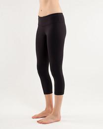 Wholesale Tight Leggings For Women - women lulu crop yoga leggings tights sportswear for fitness black rey brand NWT size 4 6 8 10