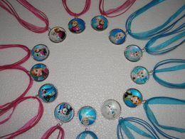 Wholesale Dress Ribbon Baby - Fashion Frozen Necklaces Colorful Ribbon Necklace Cartoon Pendants Baby Clothes Girls Dress Accessories 10pcs lot