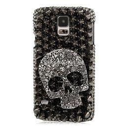 Wholesale Galaxy Case Handmade - 3D Handmade Crystal Sparkling Skull Black Rhinestone Diamond Bling Cover Case for Samsung Galaxy S5 I9600 , Free Shipping