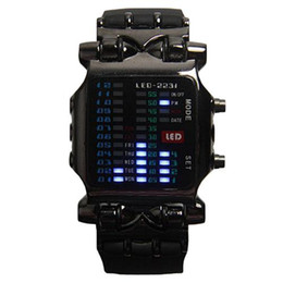 Wholesale Led Light Belt Buckle - S5Q Men's Fashion Casual LED Indicator Light Binary Black Date Sport Wrist Watch AAAEQR