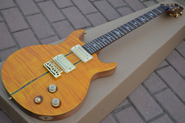 Wholesale Electric Santana - Santana guitar Flame maple yellow color mahogany guitar high quality musical instruments chitarra electric guitar free shipping
