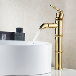 Wholesale Bamboo Waterfall Faucet - Golden Brass Waterfall Bathroom Bamboo Faucet Single Handle Vanity Mixer Tap G1042