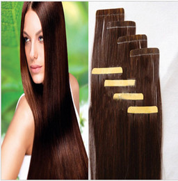 "Wholesale Hair Extensions Glue Tape - A sale 100g=40pcs 2.5g pcs 18"" 20 inch 4# Glue Skin Weft PU Tape in Human Hair Extensions brazilian REMY huge stock 3-5 days delivery"