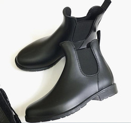 Wholesale Martin Rain Boots Black - New Fashion women Jelly Ankle High Martin U Rain Boots Short Black Rubber Wellies Rain shoes drop shipping