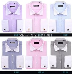 Wholesale New Fashion Luxury Iron - Wholesale-brand French cufflinks shirts Men Dress Shirts 2015 New Non Iron Luxury Long Sleeve Brand Formal Business Fashion Cotton Shirts