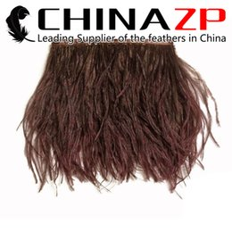 "Wholesale Wholesale Ostrich Feather Trimming - Leading Supplier CHINAZP Crafts Factory Wholesale Price 10yards lot 10~15cm(4~6"") Width Good Quality Dyed Brown Ostrich Feather Trim Fringe"