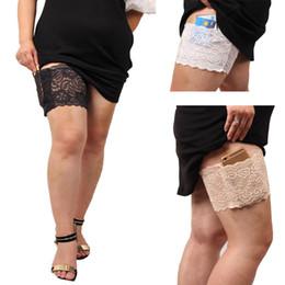 Wholesale Lacing Cards - 1pc Lace leg phone bag Non Slip Thigh Phone Card Bag Ladies Leg Pocket Garters Leg Warmers Boot Cuffs Girls Christmas Gift