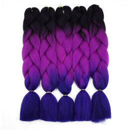 Wholesale Afro Braiding - Ombre Braiding Hair For Crochet Twist Braid 24inch 100 pcs High temperature wire synthetic Two Tone afro Jumbo braid hair
